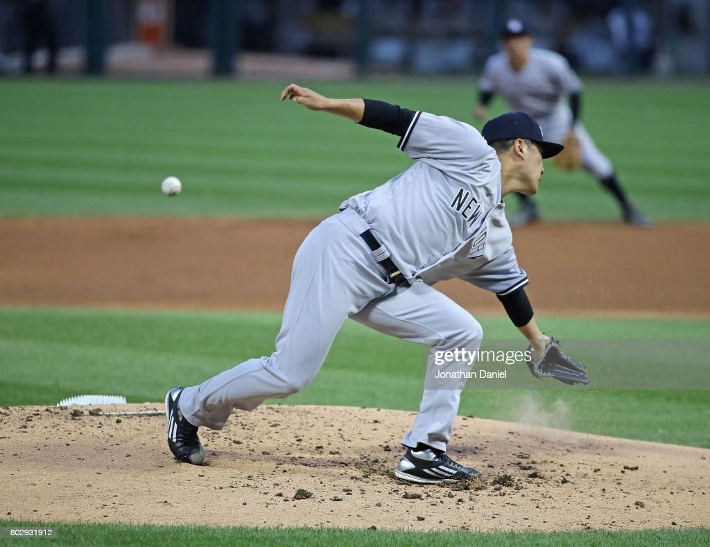 Starting pitcher Masahiro Tanaka #19 of the New York Yankees lunges for a ball hit by Melky Cabrera of the Chicago White Sox in the 1st inning at Guaranteed Rate Field on June 28, 2017 in Chicago, Illinois.