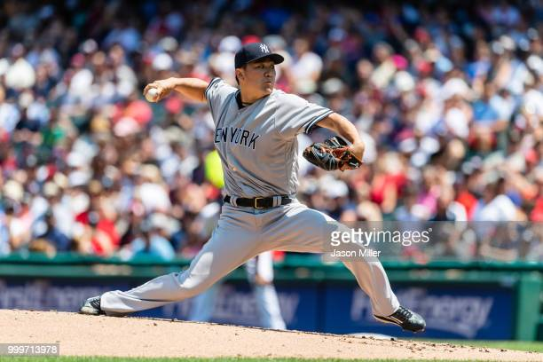 Starting pitcher Masahiro Tanaka of the New York Yankees pitches during the first inning against the Cleveland Indians at Progressive Field on July...