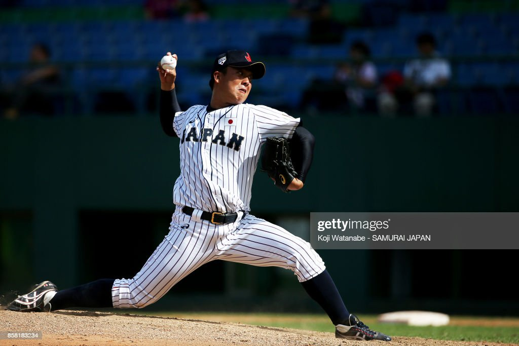 Starting pitcher Masaki Tanigawa of Japan throws a pitch in the top half of the eighth inning during the 28th Asian Baseball Championship Super Round match between Japan and South Korea at Hsing-Chuang Stadium on October 6, 2017 in New Taipei City, Taiwan.