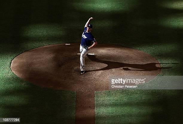 Starting pitcher Mat Latos of the San Diego Padres pitches against the Arizona Diamondbacks during the Major League Baseball game at Chase Field on...