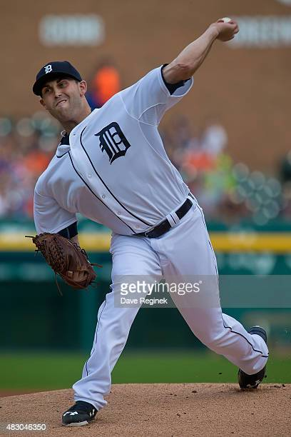 Starting pitcher Matt Boyd of the Detroit Tigers throws in the first inning against the Kansas City Royals at Comerica Park on August 5 2015 in...