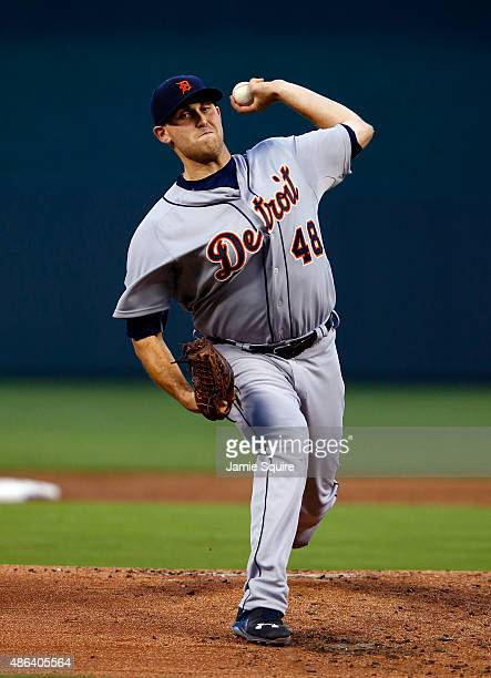 Starting pitcher Matt Boyd of the Detroit Tigers warms up prior to the game against the Detroit Tigers at Kauffman Stadium on September 3 2015 in...