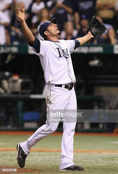 Starting pitcher Matt Garza of the Tampa Bay Rays watches a pop fly out against the Boston Red Sox in game seven of the American League Championship...