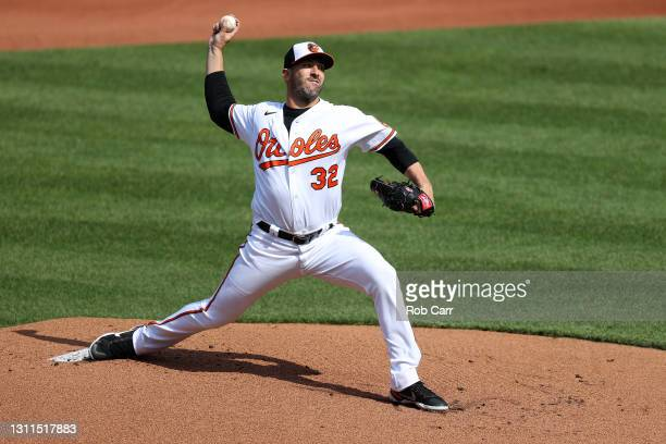Starting pitcher Matt Harvey of the Baltimore Orioles throws to a Baltimore Orioles batter in the first inning of the Orioles home opener at Oriole...