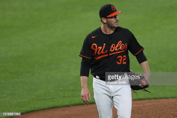 Starting pitcher Matt Harvey of the Baltimore Orioles walks off of the mount after the fourth inning against the Boston Red Sox at Oriole Park at...