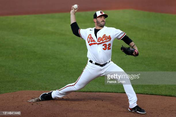 Starting pitcher Matt Harvey of the Baltimore Orioles works the first inning against the New York Yankees at Oriole Park at Camden Yards on April 26,...