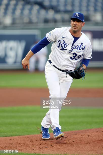 Starting pitcher Matt Harvey of the Kansas City Royals pitches during the 1st inning of game two of a doubleheader against the Cincinnati Reds at...