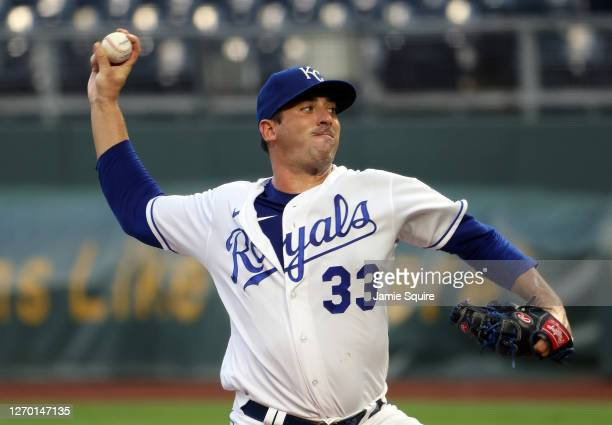 Starting pitcher Matt Harvey of the Kansas City Royals pitches during the 1st inning of the game against the Cleveland Indians at Kauffman Stadium on...