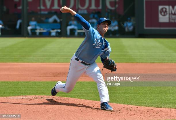 Starting pitcher Matt Harvey of the Kansas City Royals throws in the first inning against the Chicago White Sox at Kauffman Stadium on September 06,...