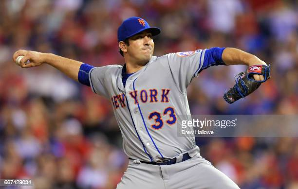 Starting pitcher Matt Harvey of the New York Mets delivers a pitch in the third inning against the Philadelphia Phillies at Citizens Bank Park on...