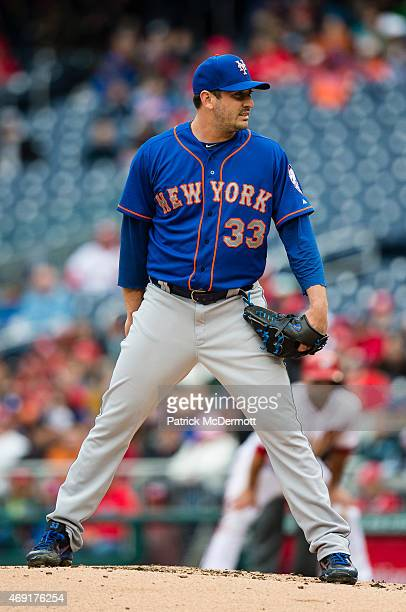 Starting pitcher Matt Harvey of the New York Mets prepares to throw a pitch to a Washington Nationals batter in the second inning during a baseball...