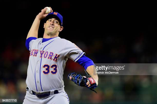 Starting pitcher Matt Harvey of the New York Mets throws a pitch against the Washington Nationals in the first inning at Nationals Park on April 8,...