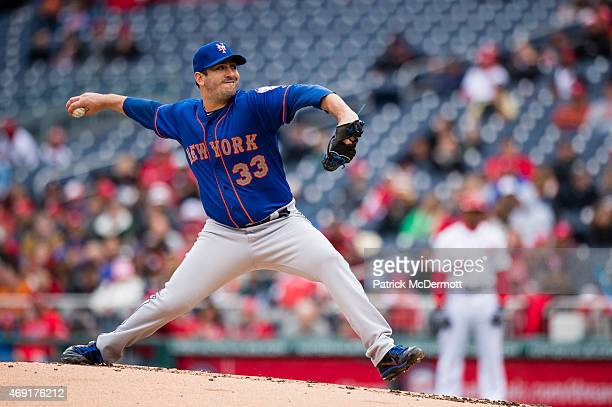 Starting pitcher Matt Harvey of the New York Mets throws a pitch to a Washington Nationals batter in the second inning during a baseball game at...