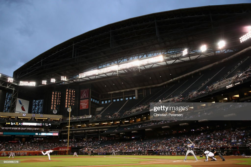 Starting pitcher Matt Koch #55 of the Arizona Diamondbacks pitches against Cody Bellinger #35 of the Los Angeles Dodgers during the first inning of the MLB game at Chase Field on May 1, 2018 in Phoenix, Arizona.