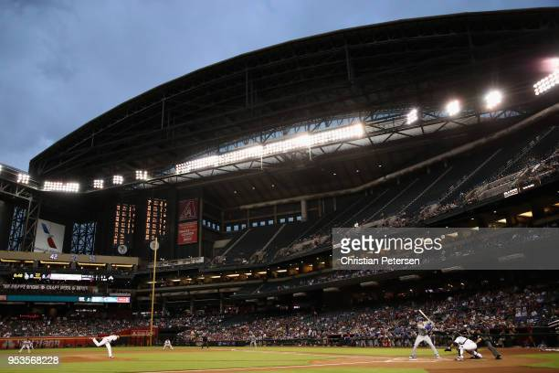 Starting pitcher Matt Koch of the Arizona Diamondbacks pitches against Cody Bellinger of the Los Angeles Dodgers during the first inning of the MLB...