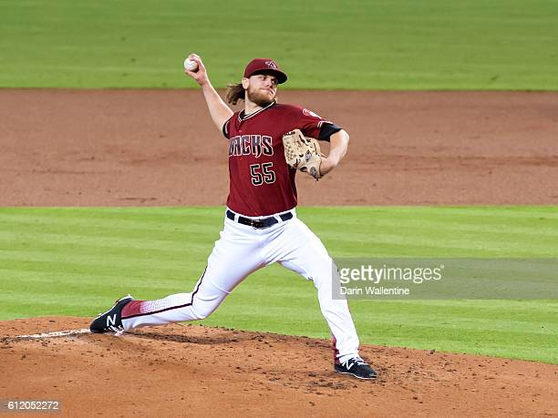 Starting pitcher Matt Koch of the Arizona Diamondbacks throws a pitch in the second inning of the MLB game against the San Diego Padres at Chase...