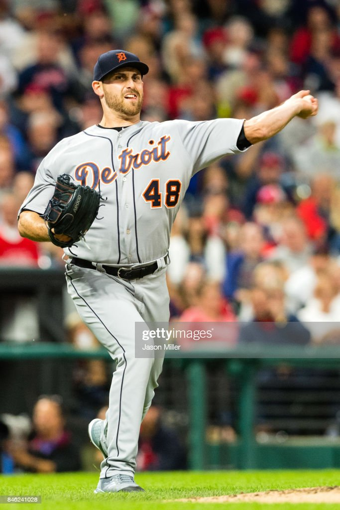 Starting pitcher Matthew Boyd #48 of the Detroit Tigers throws out Austin Jackson #26 of the Cleveland Indians at first during the fifth inning at Progressive Field on September 12, 2017 in Cleveland, Ohio.