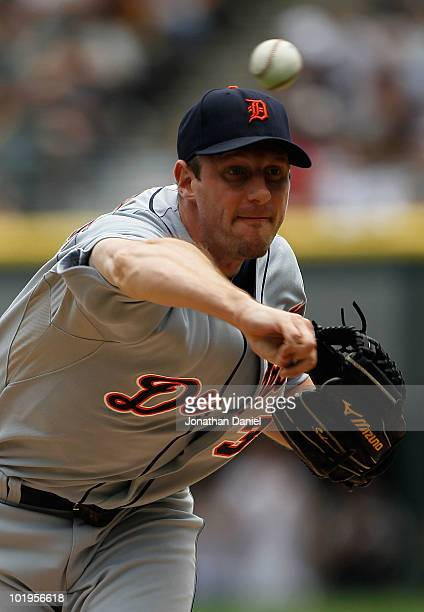 Starting pitcher Max Scherzer of the Detroit Tigers delivers the ball against the Chicago White Sox at U.S. Cellular Field on June 10, 2010 in...