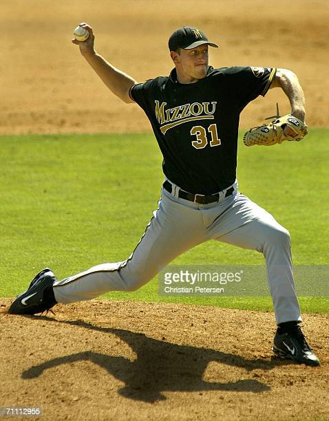 Starting pitcher Max Scherzer of the Missouri Tigers pitches against the Pepperdine Waves during the NCAA college baseball regional game held on June...