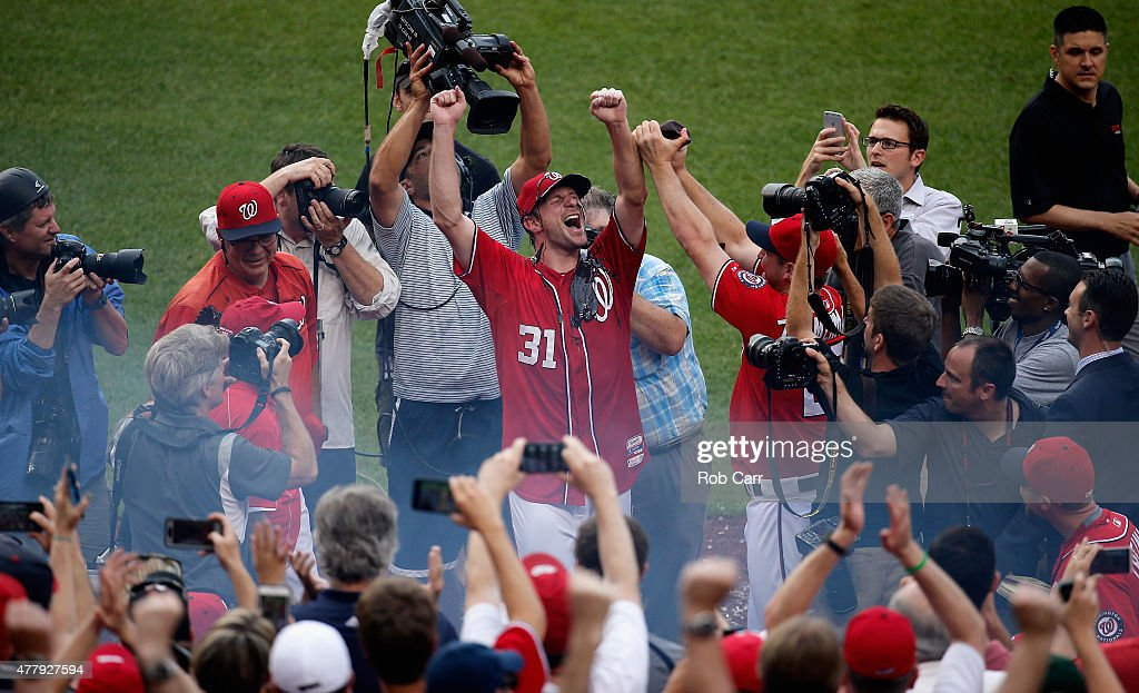 Starting pitcher Max Scherzer #31 of the Washington Nationals celebrates after throwing a no hitter during the Nationals 6-0 win over Pittsburgh Pirates at Nationals Park on June 20, 2015 in Washington, DC.