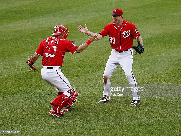 Starting pitcher Max Scherzer of the Washington Nationals celebrates with catcher Wilson Ramos after throwing a not hitter to defeat the Pittsburgh...
