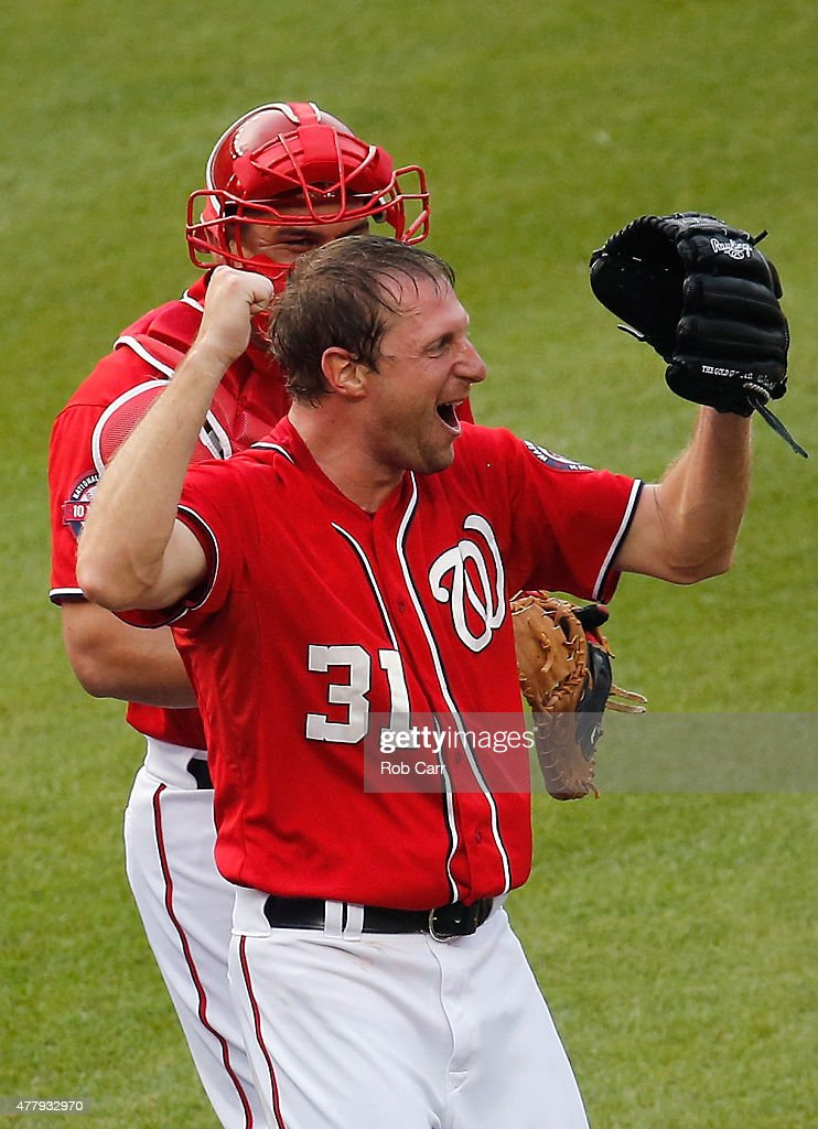 Starting pitcher Max Scherzer #31 of the Washington Nationals celebrates with catcher Wilson Ramos #40 after throwing a no hitter to defeat the Pittsburgh Pirates 6-0 at Nationals Park on June 20, 2015 in Washington, DC.