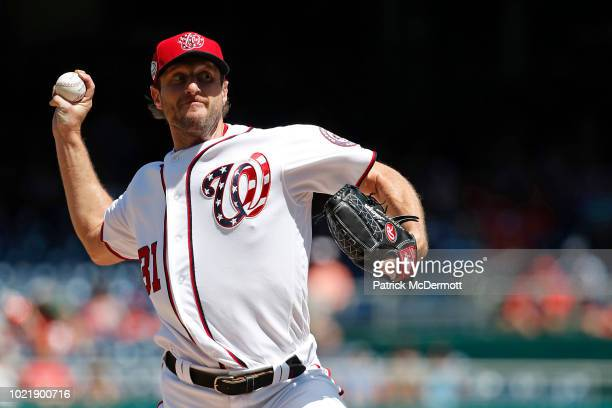 Starting pitcher Max Scherzer of the Washington Nationals pitches in the third inning against the Philadelphia Phillies at Nationals Park on August...