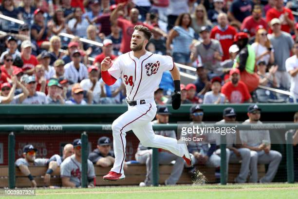 Starting pitcher Max Scherzer of the Washington Nationals throws to an Atlanta Braves batter in the first inning at Nationals Park on July 22 2018 in...