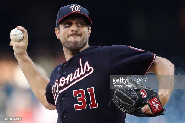 Starting pitcher Max Scherzer of the Washington Nationals works the first inning against the Philadelphia Phillies in game two of a double header at...