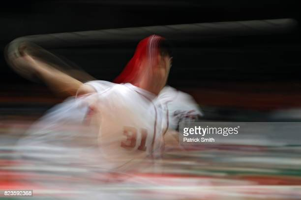 Starting pitcher Max Scherzer of the Washington Nationals works the second inning against the Milwaukee Brewers at Nationals Park on July 27 2017 in...
