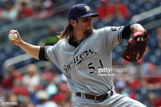 Starting pitcher Michael Blazek of the Milwaukee Brewers works the first inning against the Washington Nationals at Nationals Park on July 27 2017 in...