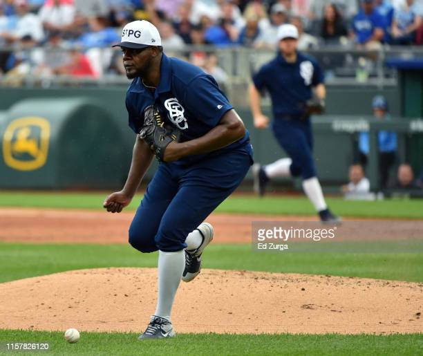 Starting pitcher Michael Pineda of the Minnesota Twins chases down a hit ball by Billy Hamilton of the Kansas City Royals in the fourth inning at...