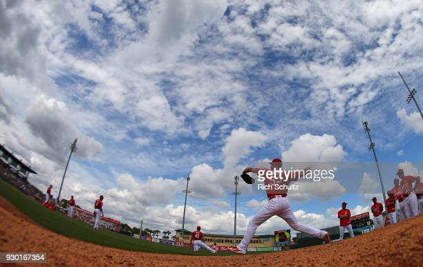 Starting pitcher Michael Wacha of the St Louis Cardinals warms up in the bullpen before a spring training game against the Miami Marlins at Roger...