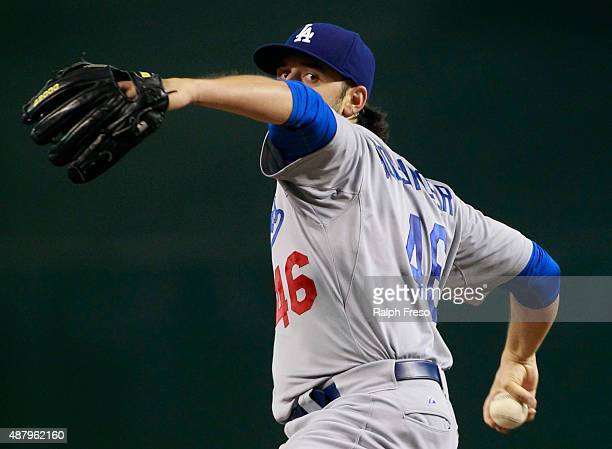 Starting pitcher Mike Bolsinger of the Los Angeles Dodgers throws against the Arizona Diamondbacks during the second inning of a MLB game at Chase...