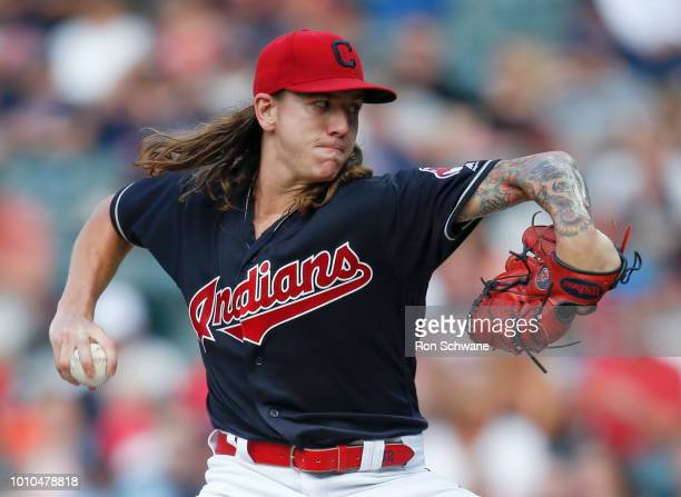 Starting pitcher Mike Clevinger of the Cleveland Indians pitches against the Los Angeles Angels during the first inning at Progressive Field on...