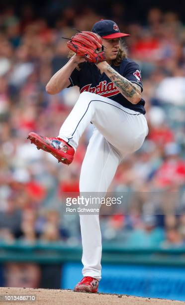 Starting pitcher Mike Clevinger of the Cleveland Indians pitches against the Minnesota Twins during the first inning at Progressive Field on August 8...