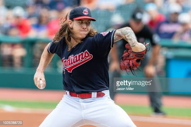 Starting pitcher Mike Clevinger of the Cleveland Indians pitches during the first inning against the Minnesota Twins at Progressive Field on August...