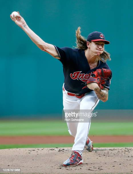 Starting pitcher Mike Clevinger of the Cleveland Indians pitches against the Kansas City Royals during the first inning at Progressive Field on...