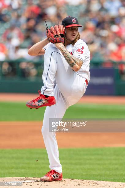 Starting pitcher Mike Clevinger of the Cleveland Indians pitches during the first inning against the Baltimore Orioles at Progressive Field on August...