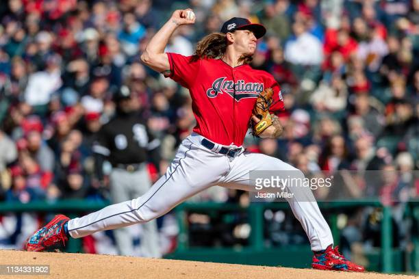Starting pitcher Mike Clevinger of the Cleveland Indians pitches during the first inning against the Chicago White Sox at Progressive Field during...