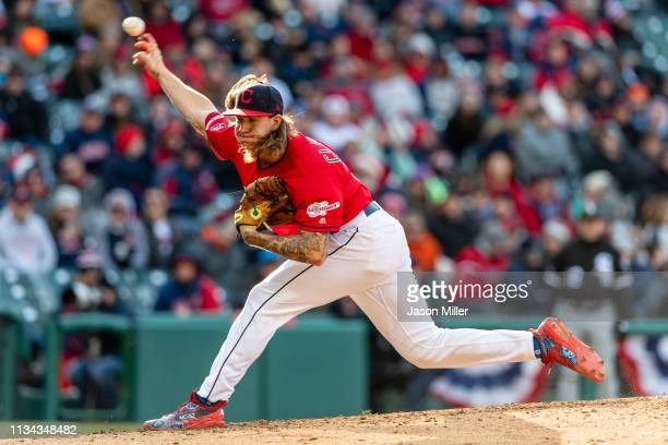 Starting pitcher Mike Clevinger of the Cleveland Indians pitches during the sixth inning against the Chicago White Sox at Progressive Field during...