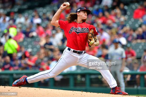 Starting pitcher Mike Clevinger of the Cleveland Indians pitches during the first inning against the Toronto Blue Jays at Progressive Field on April...