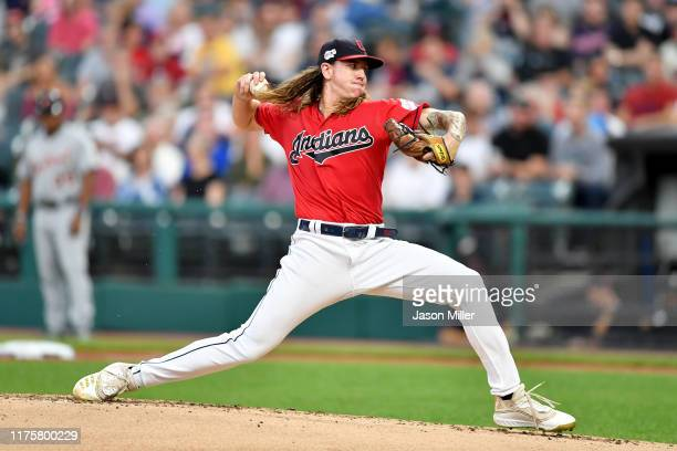 Starting pitcher Mike Clevinger of the Cleveland Indians pitches during the first inning against the Detroit Tigers at Progressive Field on September...