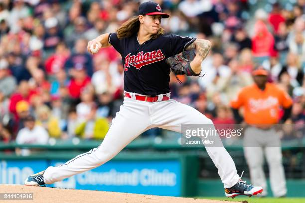 Starting pitcher Mike Clevinger of the Cleveland Indians pitches during the first inning against the Baltimore Orioles at Progressive Field on...