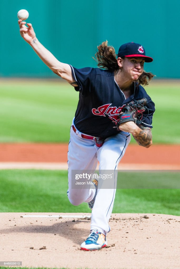 Starting pitcher Mike Clevinger #52 of the Cleveland Indians pitches during the first inning against the Detroit Tigers at Progressive Field on September 13, 2017 in Cleveland, Ohio.