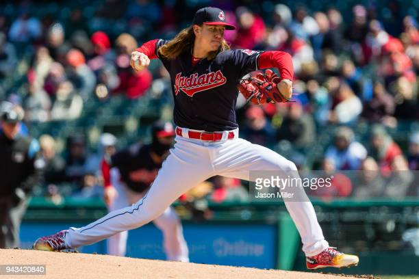 Starting pitcher Mike Clevinger of the Cleveland Indians pitches during the first inning against the Kansas City Royals at Progressive Field on April...