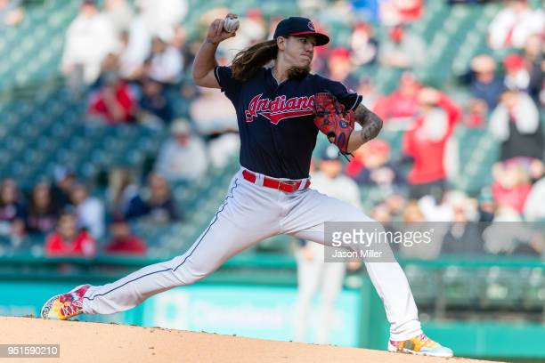 Starting pitcher Mike Clevinger of the Cleveland Indians pitches during the first inning against the Seattle Mariners at Progressive Field on April...