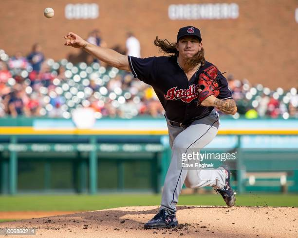 Starting pitcher Mike Clevinger of the Cleveland Indians throws in the first inning against the Detroit Tigers during a MLB game at Comerica Park on...