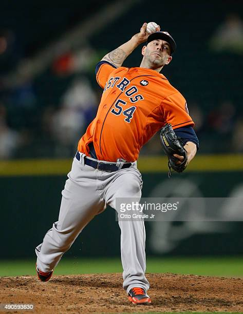 Starting pitcher Mike Fiers of the Houston Astros pitches against the Seattle Mariners in the fourth inning at Safeco Field on September 29 2015 in...
