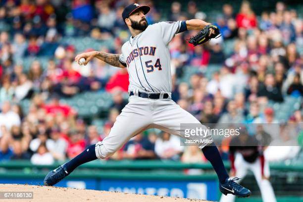 Starting pitcher Mike Fiers of the Houston Astros pitches during the first inning against the Cleveland Indians at Progressive Field on April 27 2017...